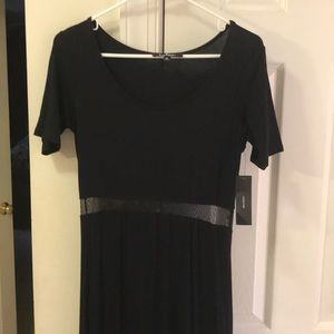 Long black dress with mesh slip
